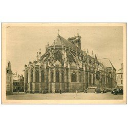 carte postale ancienne 58 NEVERS. Cathédrale Saint-Cyr Abside autocars