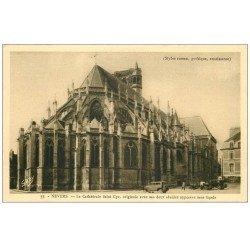 carte postale ancienne 58 NEVERS. Cathédrale Saint-Cyr deux Absides et voitures