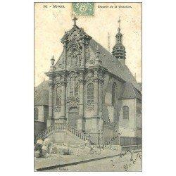 carte postale ancienne 58 NEVERS. Chapelle de la Visitation 1907 avec Ouvriers Tailleurs de pierres