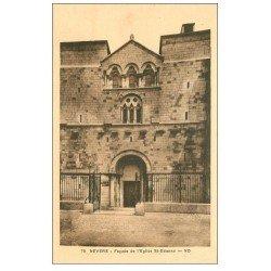 carte postale ancienne 58 NEVERS. Eglise Saint-Etienne façade