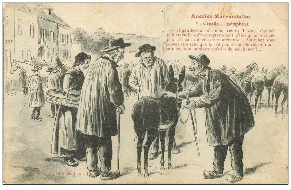 Sabre des Cent Gardes 1854: un petit détail Carte-postale-ancienne-58-patoiseries-morvandelles-cruelle-metaphore-1919-maquignons-et-ane