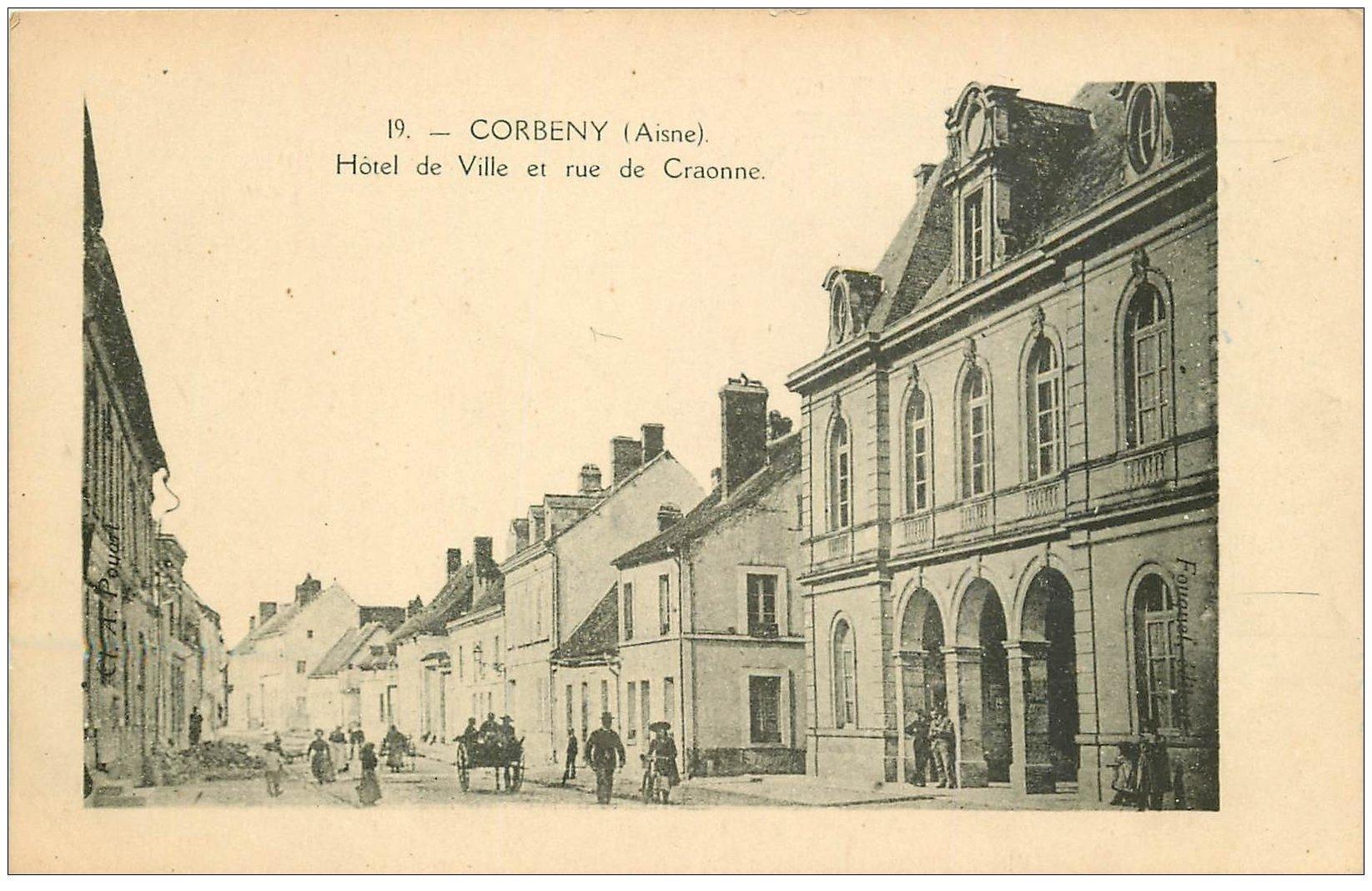 carte postale ancienne 02 CORBENY. Hôtel de Ville rue de Craonne 1943
