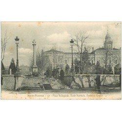carte postale ancienne 13 AIX-EN-PROVENCE. Place Bellegarde. Ecole Normale et Fontaine Granet 1905