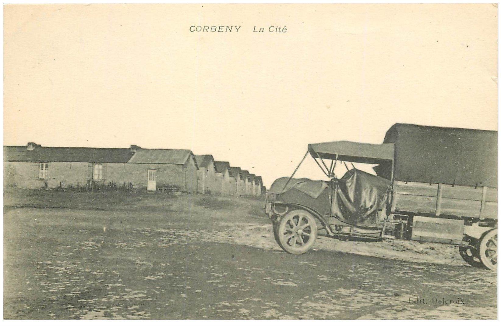 carte postale ancienne 02 CORBENY. La Cité camion militaire