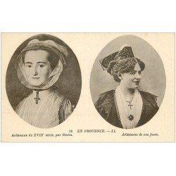 carte postale ancienne 13 ARLES. Arlésienne par Réattu et maintenant