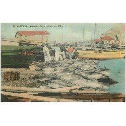 carte postale ancienne 13 CARRO. Retour d'une Pêche au Thon 1912. Pêcheurs et Poissons