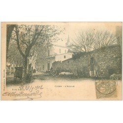 carte postale ancienne 13 CUGES. L'Eglise. Timbre de 1 centime 1902