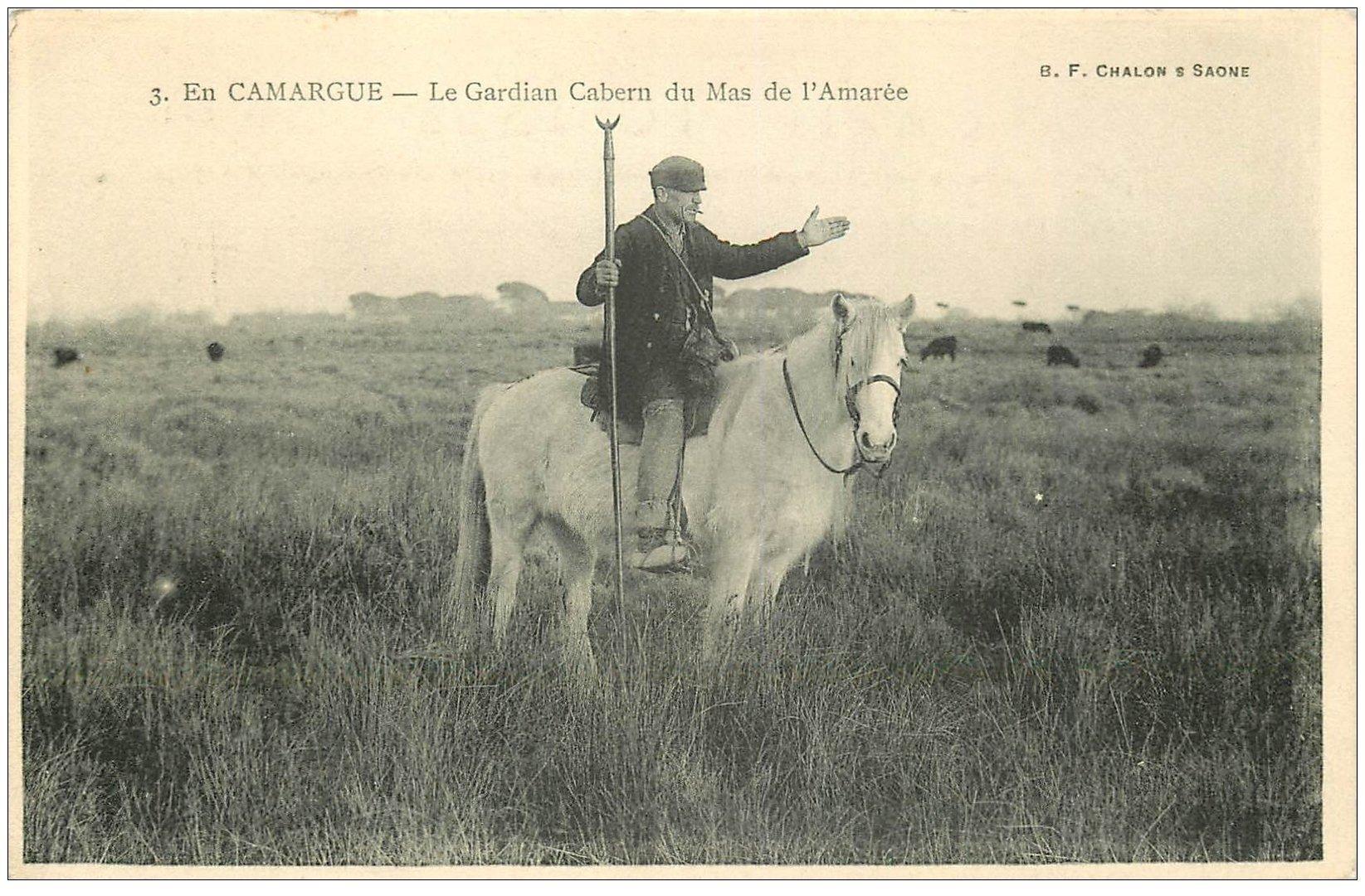 carte postale ancienne 13 En CAMARGUE. Mas de l'Amarée. Gardian Cabern sur son Cheval