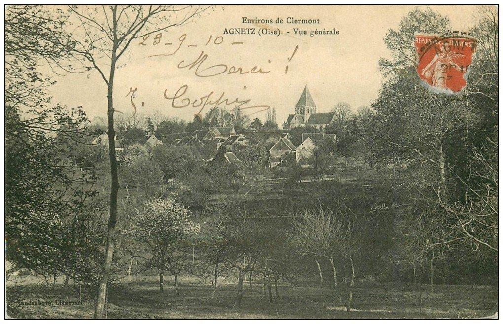 carte postale ancienne 60 AGNETZ. Le Village 1910