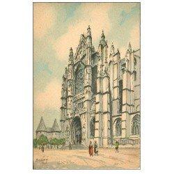 carte postale ancienne 60 BEAUVAIS. La Cathédrale par Barday. Papier velin dentelé à la ficelle