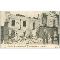 carte postale ancienne 60 BETZ. Verrerie Faience après bombardement. Affiche Dubonnet 1915