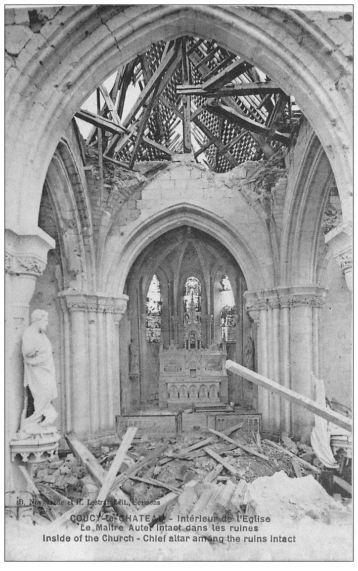 carte postale ancienne 02 COUCY-LE-CHATEAU. Intérieur de l'Eglise