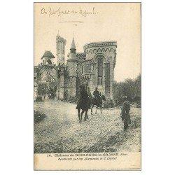 carte postale ancienne 60 BOULOGNE-LA-GRASSE. Le Château avec Militaires