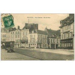 carte postale ancienne 60 BRETEUIL. Rues Amiens et Paris 1913. Hôtel et Café du Commerce et de France