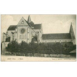 carte postale ancienne 60 BURY. L'Eglise 1918 enfants assis