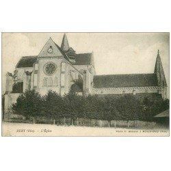 carte postale ancienne 60 BURY. L'Eglise 1918 enfants assis