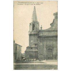 carte postale ancienne 13 LAMBESC. Le Clocher après tremblement de terre en 1909