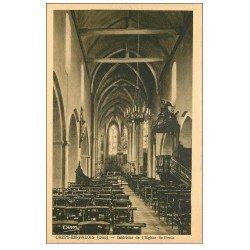 carte postale ancienne 60 CREPY-EN-VALOIS. Eglise Saint-Denis intérieur