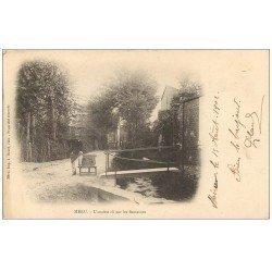 carte postale ancienne 60 MERU. Ancien Rû sur les Fontaines avec Livreur 1902