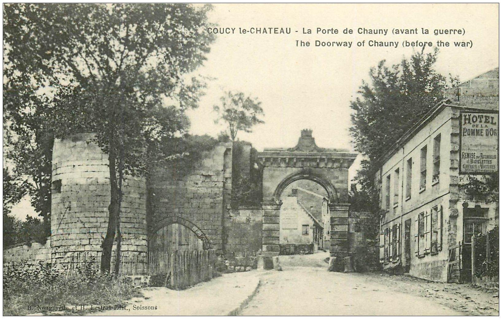 carte postale ancienne 02 COUCY-LE-CHATEAU. La Porte de Chauny
