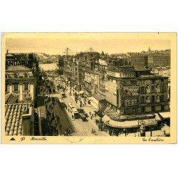 carte postale ancienne 13 MARSEILLE. Cannebière 1935 Affiches Savon Cadum. Timbre absent