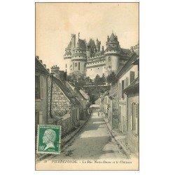 carte postale ancienne 60 PIERREFONDS. Château et Rue Notre-Dame