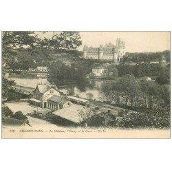 carte postale ancienne 60 PIERREFONDS. Château, Etang et Gare 1918