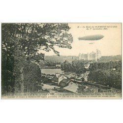 """carte postale ancienne 60 PIERREFONDS. Le Raid du """""""" CLEMENT-BAYARD """""""" 1913 Mongolfière Ballon Dirigeable Zeppelin Avion"""
