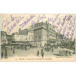 carte postale ancienne 13 MARSEILLE. Cannebière et Quai Fraternité 1905