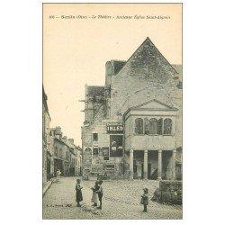 carte postale ancienne 60 SENLIS. Le Théâtre. Affiche Chocolat Ibled