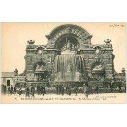 carte postale ancienne 13 MARSEILLE. Château d'Eau . Exposition Coloniale