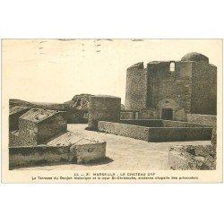 carte postale ancienne 13 MARSEILLE. Château d'If 1935 Terrasse du Donjon