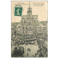 carte postale ancienne Superbe Lot 10 Cpa COMPIEGNE 60. Cortège Place Hôtel-de-Ville, Pont, Gardien Monument Armistice etc...