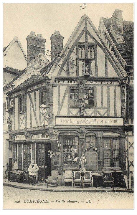Superbe Lot 10 Cpa COMPIEGNE 60. Vieille Maison, Pêcheurs Pont Oise, Hôtel Rond-Royal, Barrage Venette etc...