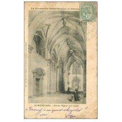 carte postale ancienne 61 ALMENECHES. Nef Eglise 1906. Carte style parchemin découpe à la ficelle