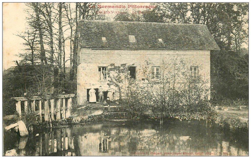 carte postale ancienne 61 ANCEINS. Le Moulin animation 1907