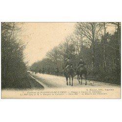 carte postale ancienne 61 ANDAINES. Chasse à Courre. Le Départ des Chasseurs 1915. Marquis de Cornulier