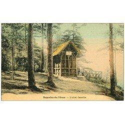 carte postale ancienne 61 BAGNOLES-DE-L'ORNE. L'Abri Janolin animé. Superbe Carte Toilée