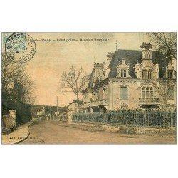 carte postale ancienne 61 BAGNOLES-DE-L'ORNE. Pension Pasquier au Rond-Point 1907. Superbe Carte Toilée