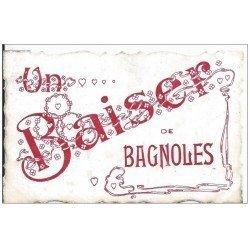 carte postale ancienne 61 BAGNOLES-DE-L'ORNE. Superbe Carte Fantaisie papier moire à reflets de luxe découpe artistique 1907