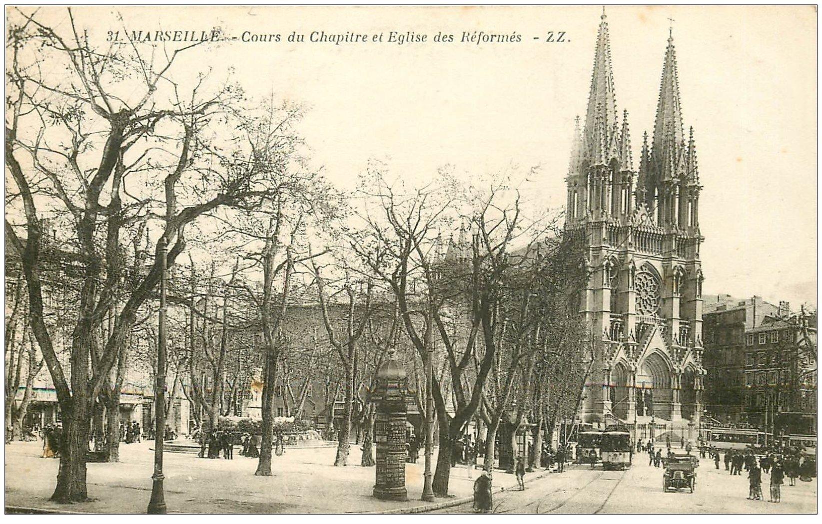 carte postale ancienne 13 MARSEILLE. Cours du Chapître Eglise des Réformés 1915