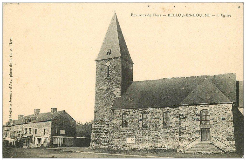 carte postale ancienne 61 BELLOU-EN-HOULME. L'Eglise