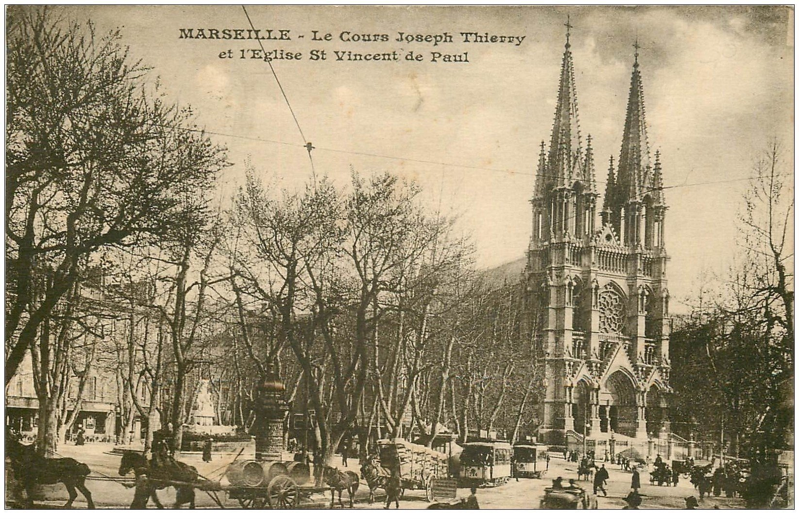 carte postale ancienne 13 MARSEILLE. Cours Joseph Thierry Eglise Saint-Vincent de Paul