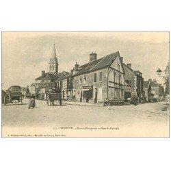 carte postale ancienne 61 BRIOUZE. Route Argentan et Rue Saint-Gervais. Magasin Photographie