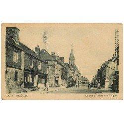 carte postale ancienne 61 BRIOUZE. Rue de Flers avec ancienne Pompe à Essence 1946