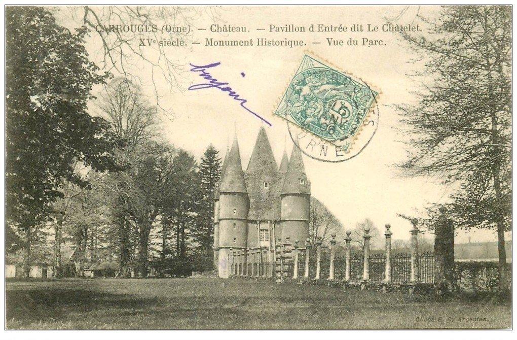 carte postale ancienne 61 CARROUGES. Le Château 1906 Parc et Pavillon