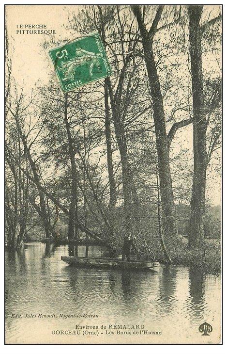 carte postale ancienne 61 DORCEAU. Passeur Bords de l'Huisne 1913