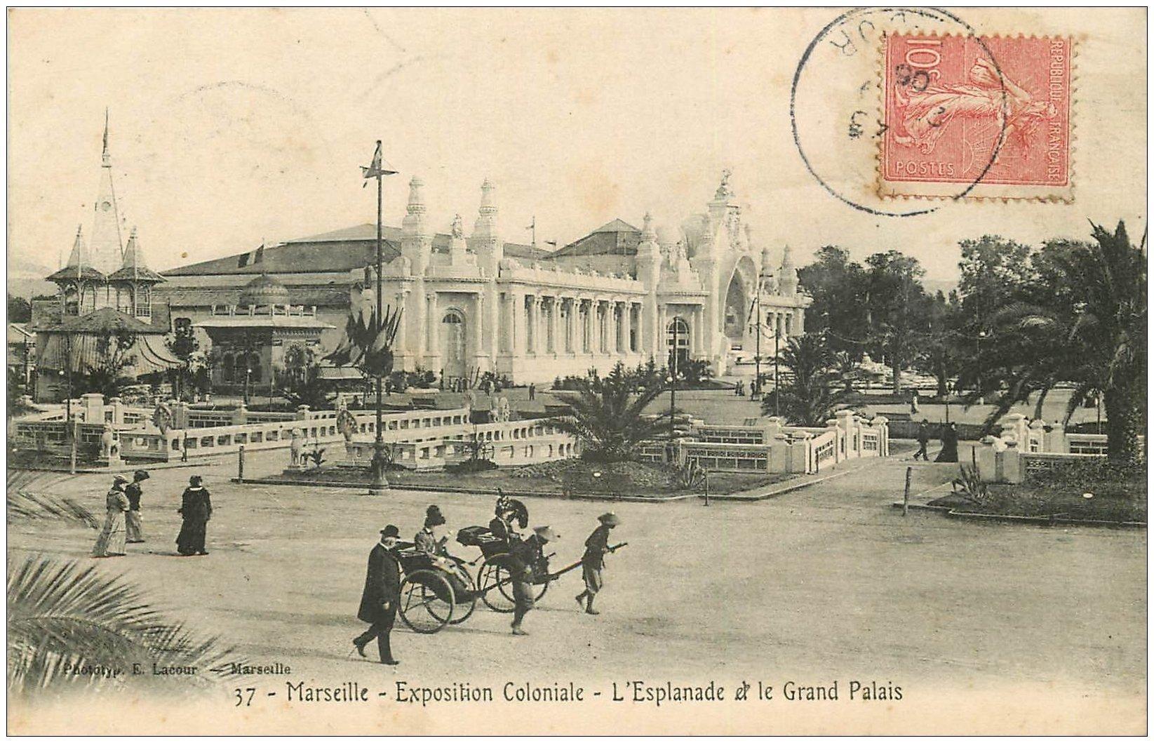 carte postale ancienne 13 MARSEILLE. Esplanade Grand Palais . Exposition Coloniale