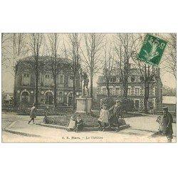 carte postale ancienne 61 FLERS. Le Théâtre 1908 belle animation