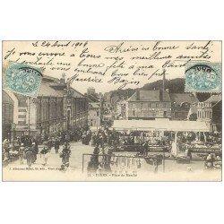 carte postale ancienne 61 FLERS. Place du Marché 1904 Hôtel de Bretagne